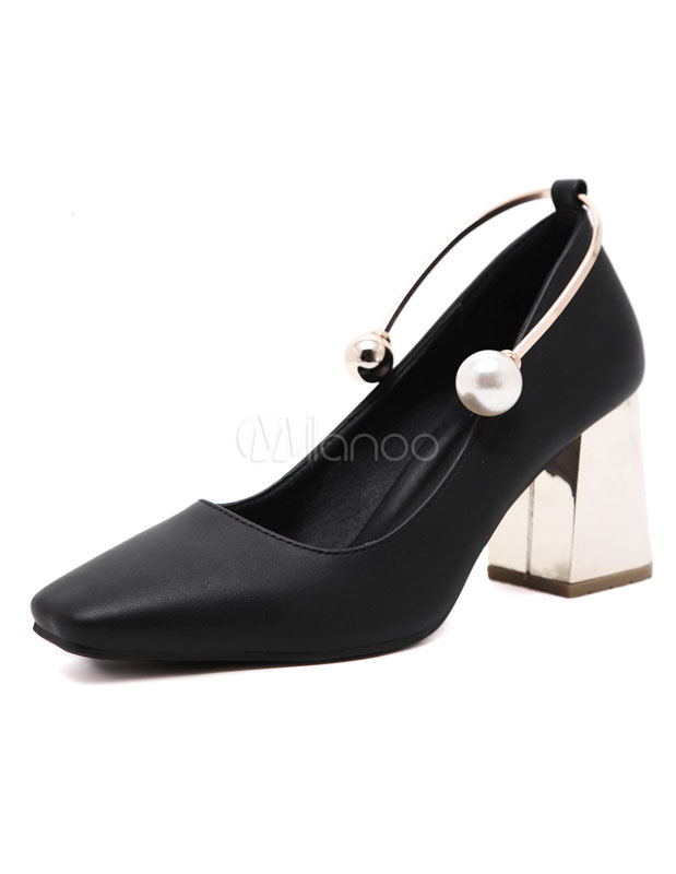 Buy Black Chunky Heels Women's Square Toe Pearls Metal Detail Slip On Pumps for $30.39 in Milanoo store