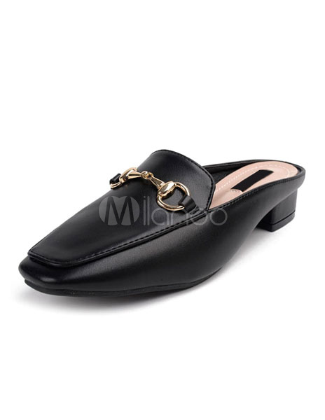 Buy Black Mule Shoes Women's Square Toe Metal Detail Backless Chunky Heel Loafers for $28.49 in Milanoo store