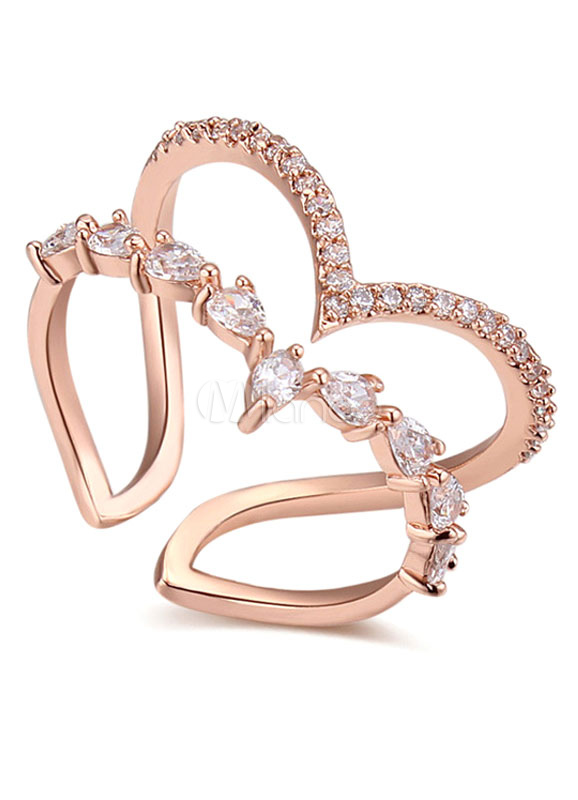 rhinestone rings anniversary plated womens ring engagement wedding gold rose