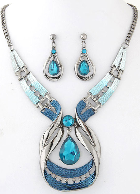 Blue Jewelry Set Women's Beaded Statement Necklace With Drop Earrings