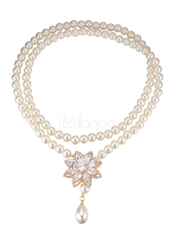 Buy Women's Pendant Necklace Rhinestones Pearls Beaded Necklace for $25.19 in Milanoo store