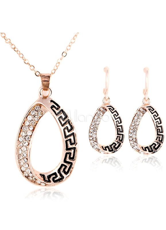 Buy Gold Jewelry Set Rhinestones Beaded Pendant Necklace With Dangle Earrings for $6.79 in Milanoo store