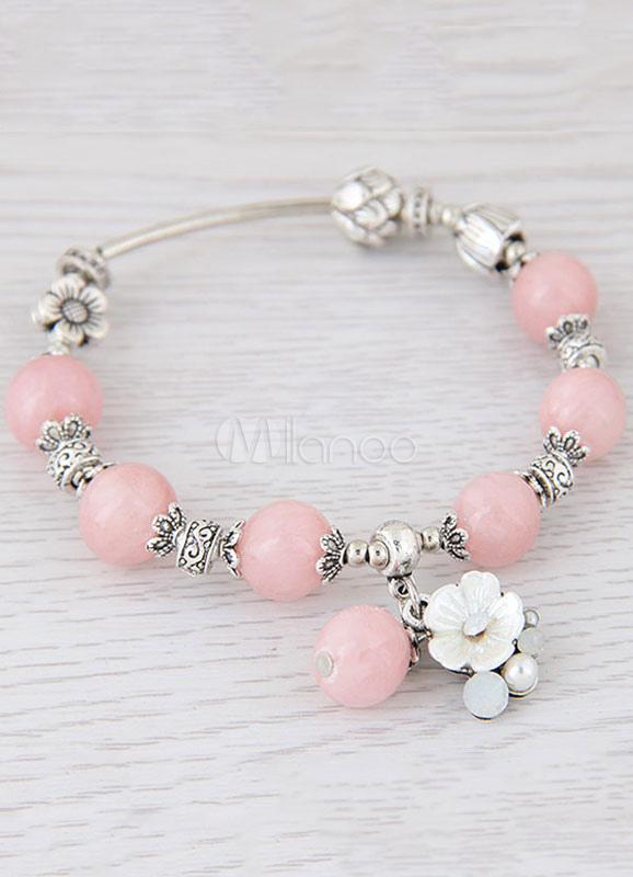 Buy Pink Charm Bracelet Women's Beaded Bracelet With Pendant for $5.59 in Milanoo store