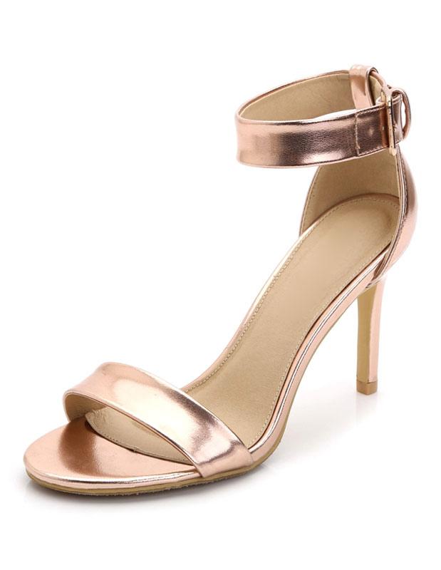 Milanoo / Champagne Dress Sandals High Heel Women's Ankle Strap Stiletto Heel Sandal Shoes