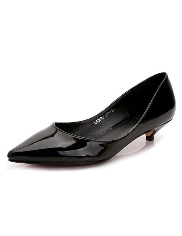 Zapatos de tacón medio Charol PU Color liso estilo moderno EuEoPtr