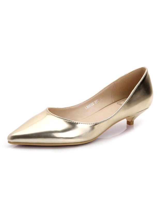 Zapatos de tacón medio Charol PU Color liso estilo moderno MWlNb9Sbe