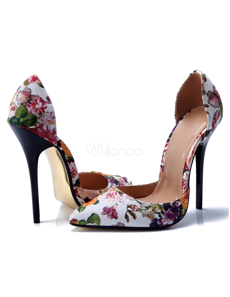 31a88c4016665c Women's Sexy Shoes High Heel Pointed Toe Floral Printed Slip On Pumps-No.  ...