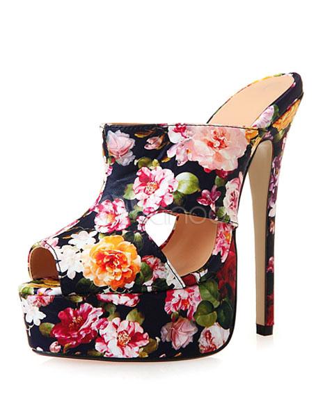 Floral Mules Shoes Peep High Heel Platform Women's Printed Slip On Sandals