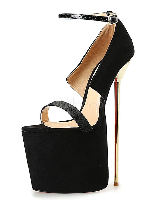 Milanoo / Black Sexy Sandals Platform High Heel Women's Stiletto Heel Ankle Strap Sandal Shoes