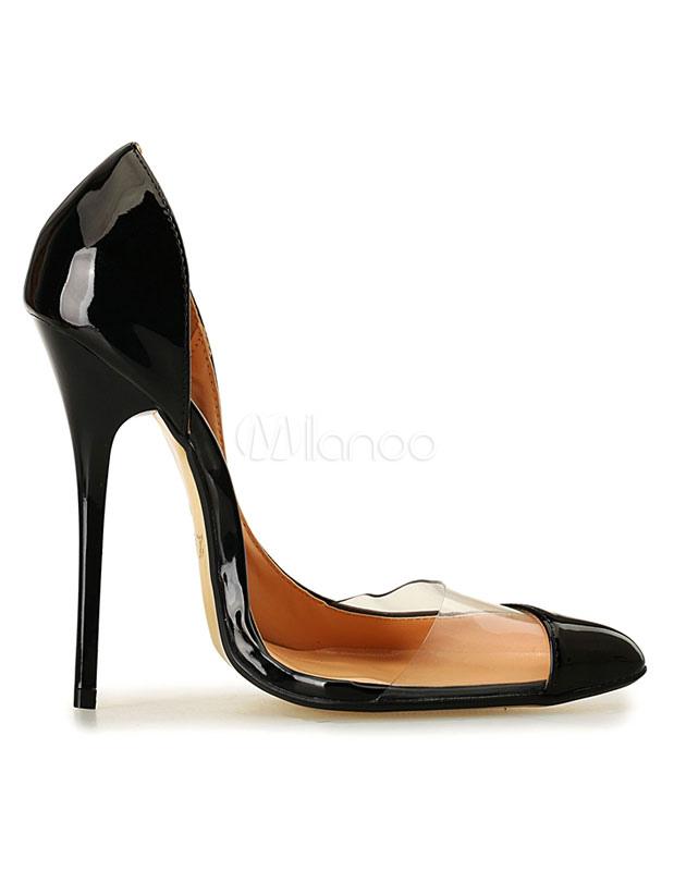 Zapatos de plataforma de PU negros Color liso sexy 4pdzc