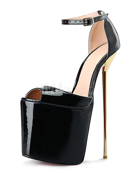 Black Sexy Shoes Platform High Heel Women's Peep Toe Plating Stiletto Heel Ankle Strap Sandal Shoes