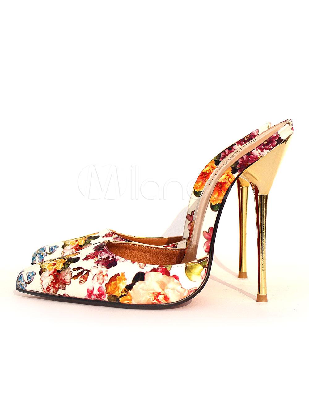 Women's Mule Sandals High Heel Floral Printed Almond PU Stiletto Heel Slippers