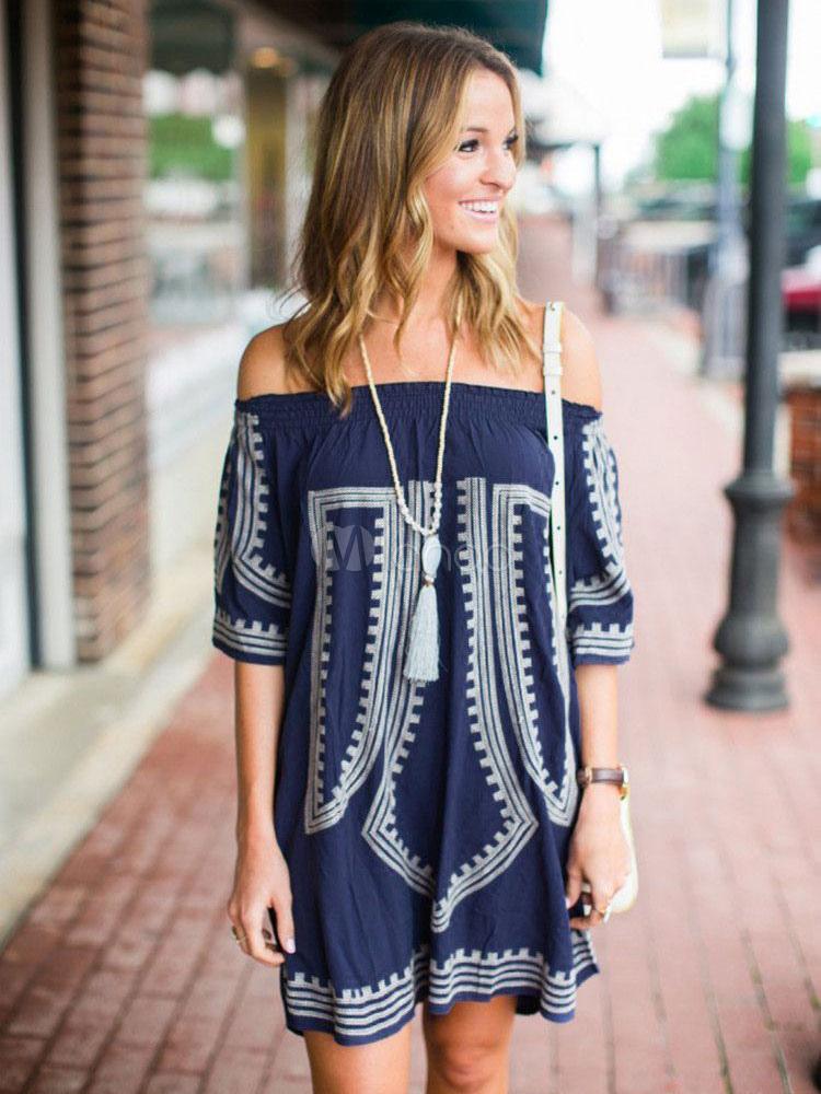 Women's Cover Ups Dark Navy Off The Shoulder Half Sleeve Geometric Printed Beachwear Cheap clothes, free shipping worldwide