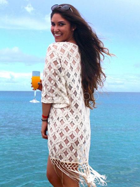 Boho Cover Up White Crochet 3/4 Length Sleeve Beach Swimwear With Fringe