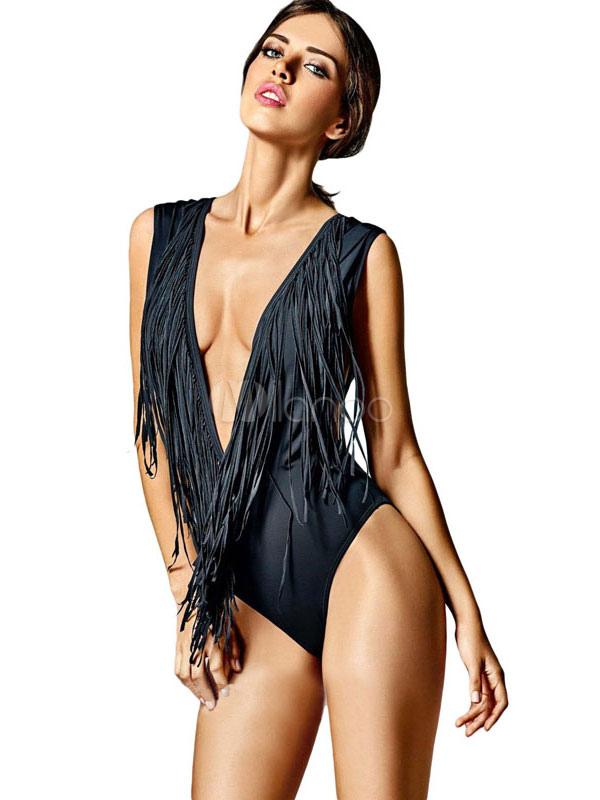 design senza tempo 63fa3 02406 Costume da mare intero sexy di poliestere nero monocolore con scollatura  profonda smanicato con frange
