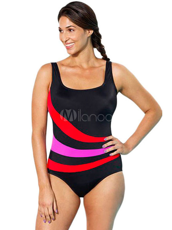 Women's Vest Swimsuit Color Block One Piece Bathing Suits