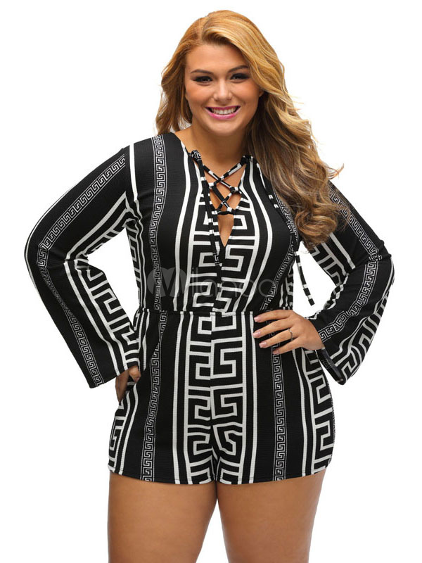 Plus Size Romper In Black Printed With Lace Up V Neckline Long Sleeve For Women Cheap clothes, free shipping worldwide