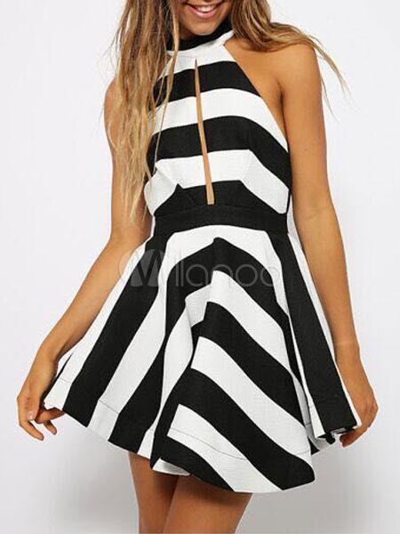 Buy Women's Skater Dress Two Tone Round Neck Sleeveless Striped Backless Short Flare Dress for $25.34 in Milanoo store