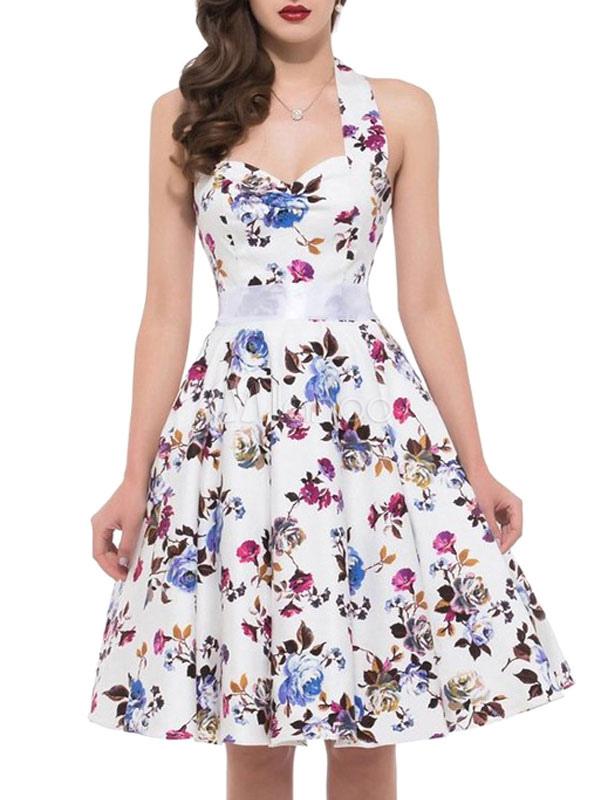 Floral Vintage Dress Halter Flowers Printed A Line Women's Retro Dress