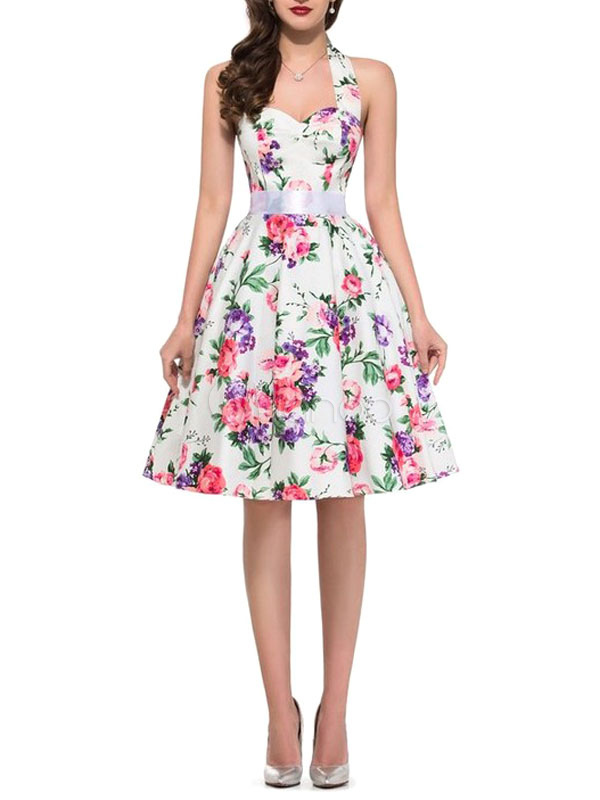 Buy Floral Vintage Dress Pink Flowers Printed Halter Backless Women's Sweetheart Pleated A Line Retro Dress for $28.89 in Milanoo store
