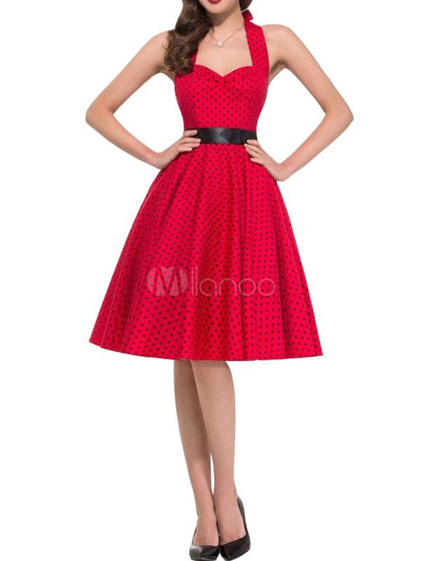 Red Vintage Dress Halter Polka Dot Printed Women's Sweetheart Pleated Retro Dress