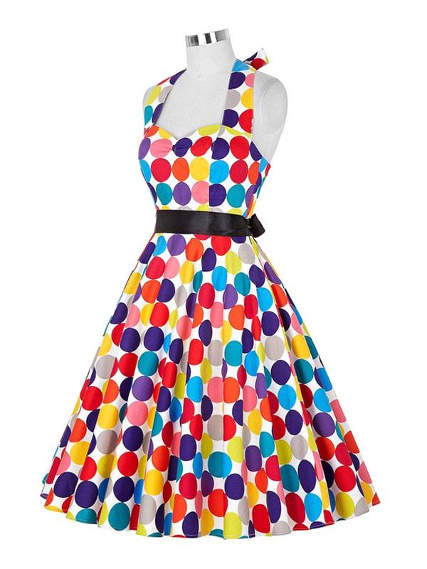417d5cd40c254b Vintage Kleid Frauen Polka Dot gedruckt Halfter bunte Plissee eine Linie  Retro Kleid-No.