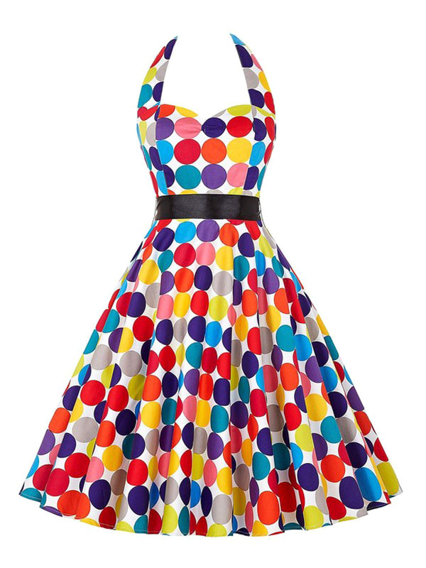 Buy Halter Vintage Dress Women's Polka Dot Printed Colorful Pleated A Line Retro Dress for $27.19 in Milanoo store