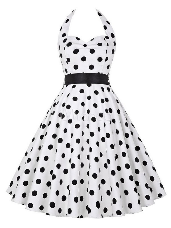 Buy Vintage White Dress Polka Dot Printed Halter Backless Women's Sweetheart Pleated A Line Retro Dress for $27.19 in Milanoo store