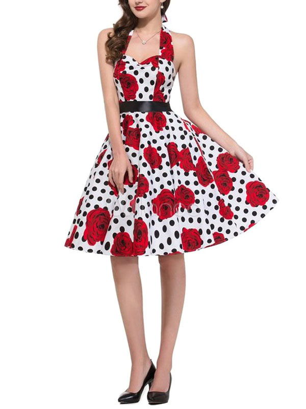 Buy Halter Vintage Dress Women's Polka Dot Rose Flowers Printed Pleated A Line Retro Dress for $28.89 in Milanoo store