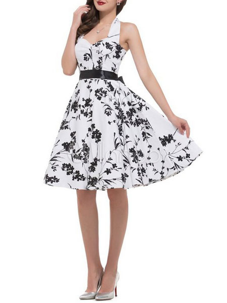 Buy White Vintage Dress Women's Halter Backless Printed Sleeveless A Line Pleated Retro Dress for $35.99 in Milanoo store