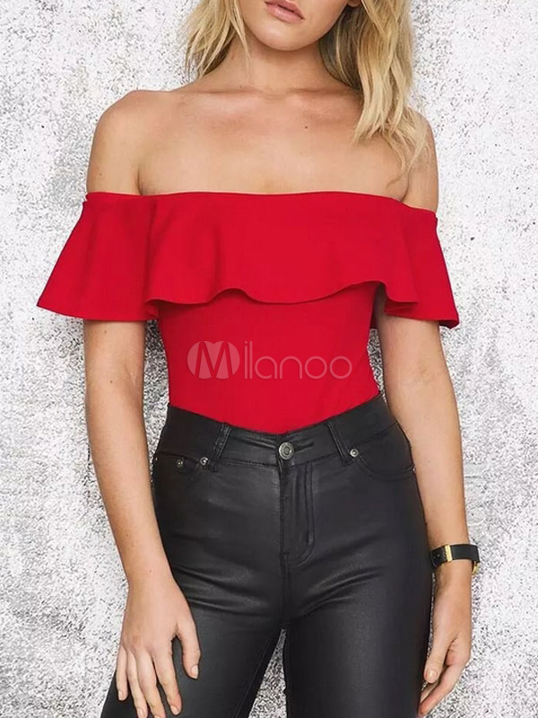 Women's Red Bodysuit Ruffle Off The Shoulder Slim Fit Bodysuit Top Cheap clothes, free shipping worldwide