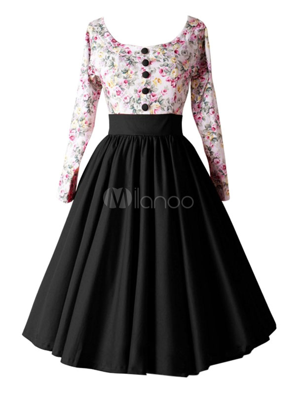 Women's Vintage Dress Floral Printed Black Contrast Color Front Button Pleated Round Neck A Line Retro Dress