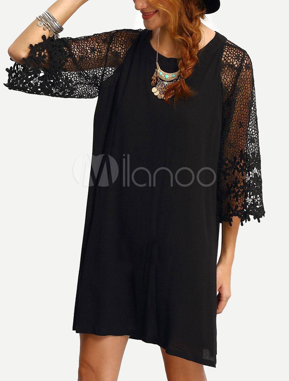 Buy Women's Black Dress Lace Half Sleeve Chiffon Round Neck Short Shift Dress for $35.99 in Milanoo store