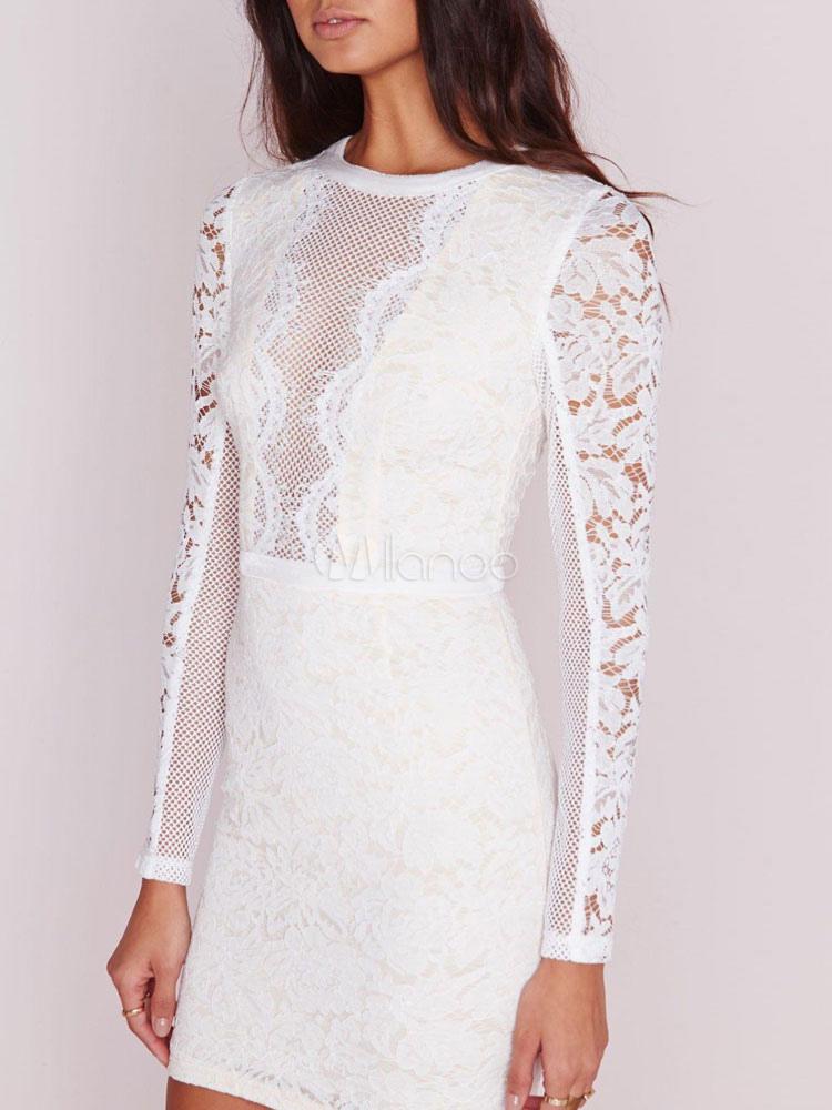 buy online d98f8 cee68 Weißes Kleid Frauen Bodycon Illusion Langarm runder Hals Minikleid Spitze