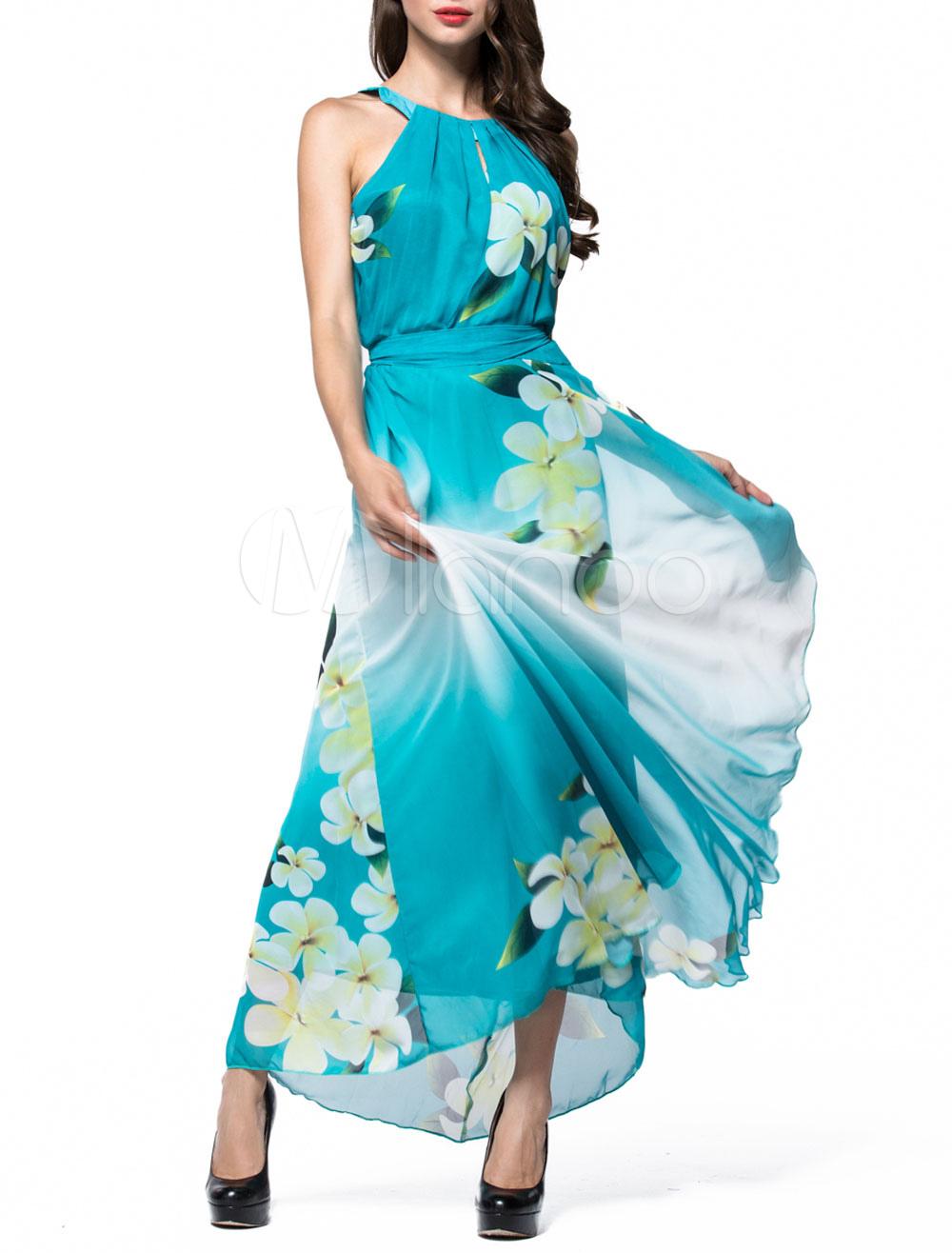 Chiffon Maxi Dress Printed Sleeveless Jewel Neck Long Summer Dress