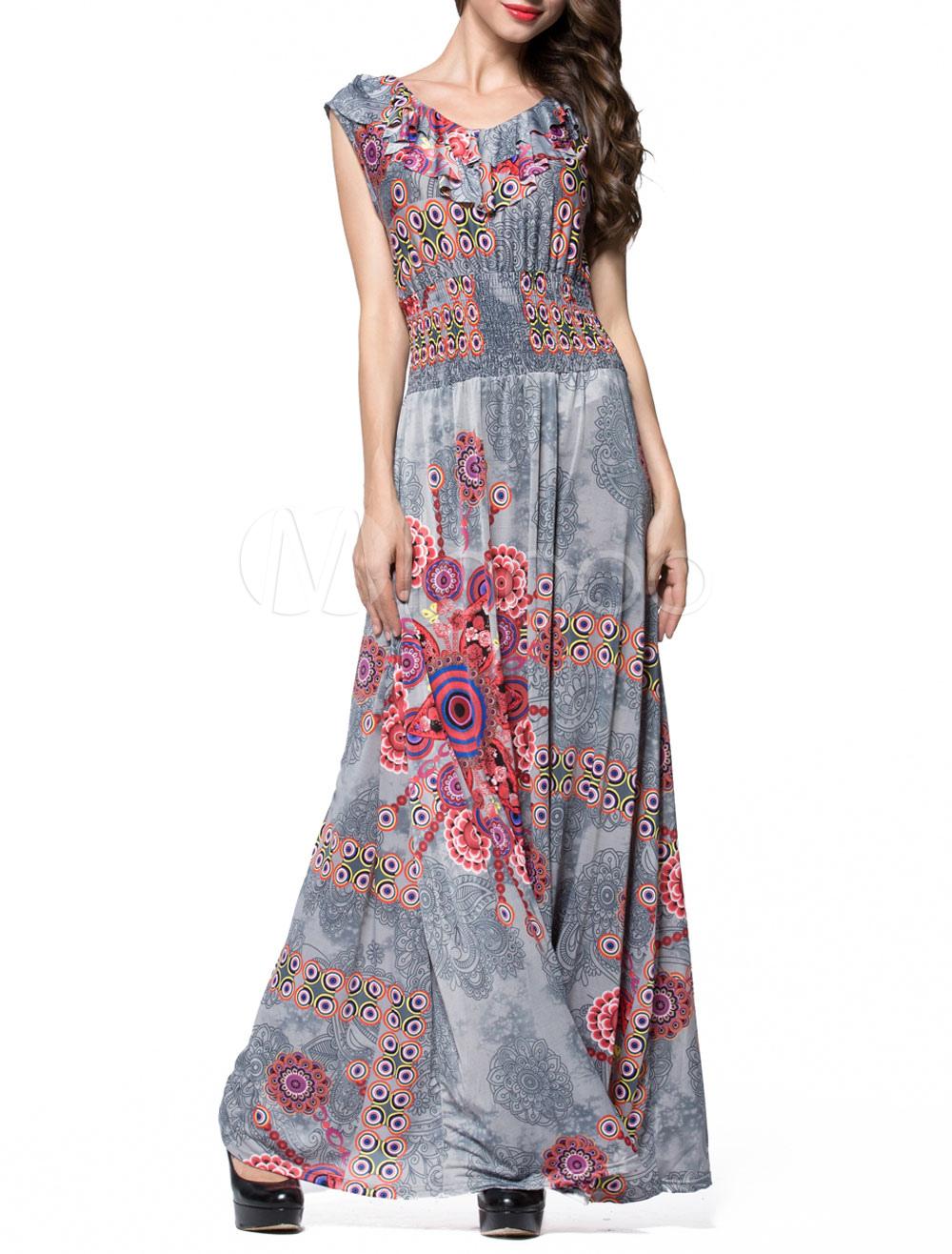 Vintage Maxi Dress Boho Printed Short Sleeve Jewel Neck Slim Fit Summer Long Dress