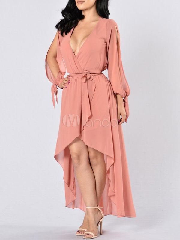 e8c1825144 Chiffon Maxi Dress Blush Pink V Neck Long Sleeve Open Shoulder High Low  Slit Long Dress ...
