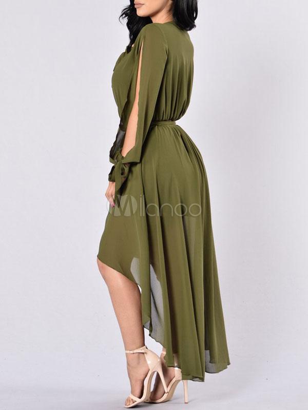 39955f8a19 ... Chiffon Maxi Dress Blush Pink V Neck Long Sleeve Open Shoulder High Low  Slit Long Dress ...