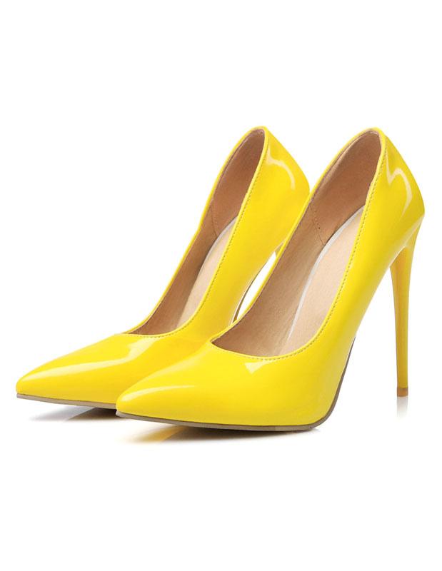 High Gelbe Slip Zehen Pfennigabsatz Spitzen Heels Damen On Pumpen OwPn08k