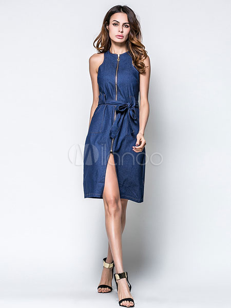 Buy Blue Shift Dress Round Neck Sleeveless Zip Up Denim Dress With Sash for $19.54 in Milanoo store