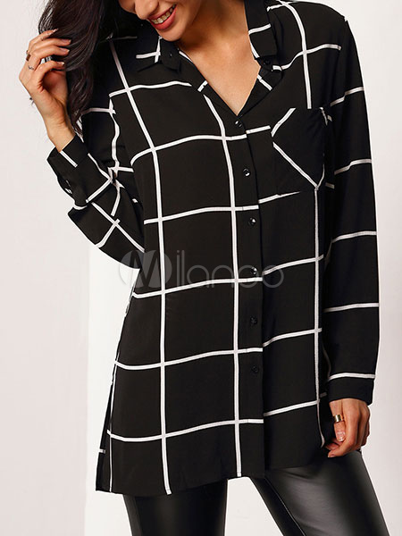 Chiffon Black Blouse Women's Plaid Turndown Collar Long Sleeve Slit Casual Shirt Cheap clothes, free shipping worldwide