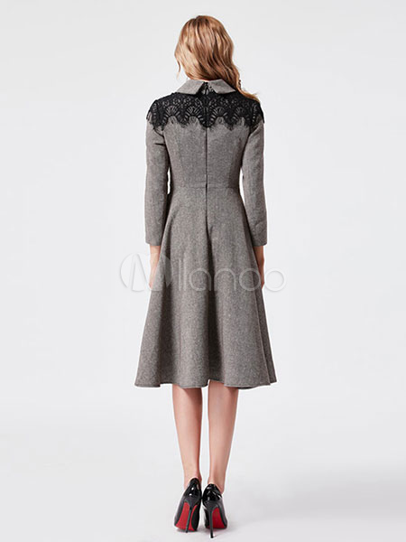 001ace945c Grey Vintage Dress Peter Pan Collar Long Sleeve Lace Detail Pleated Skater  Dress-No.
