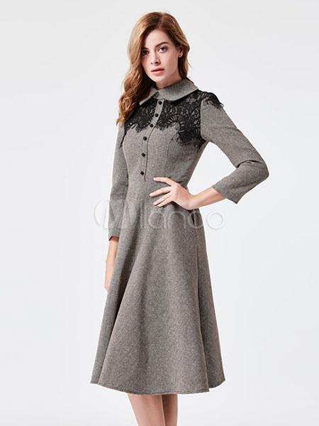 graue vintage kleid peter pan kragen langarm spitzen detail plissee skater kleid. Black Bedroom Furniture Sets. Home Design Ideas