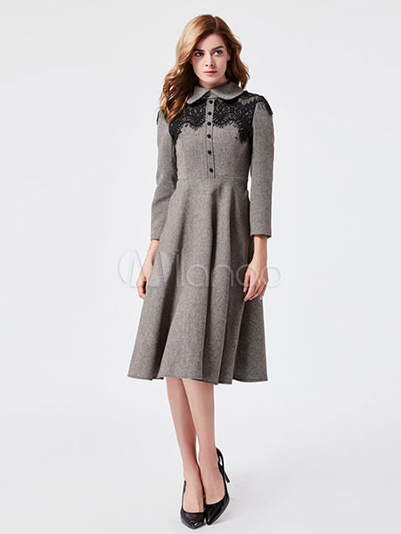 Grey Vintage Dress Peter Pan Collar Long Sleeve Lace Detail Pleated Skater  Dress-No. 9b1cdbdbec