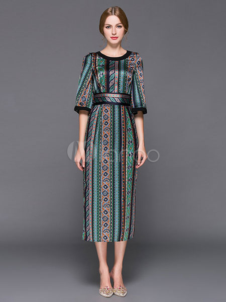 Women's Long Dress Satin Round Neck Half Sleeve Printed Slit Slim Fit Dress