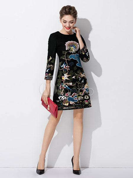 Abendkleid schwarz Damen 3/4 Ärmel gedruckt um Hals eine Linie Kleid ...