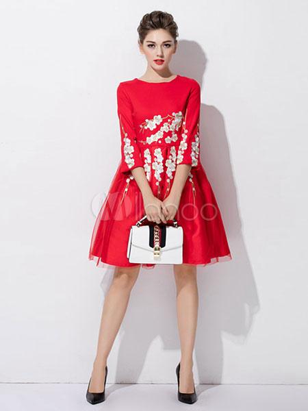 644e7aed3 Vestido de fiesta rojo cuello redondo medio vestido patinador bordado  Floral para las mujeres-No ...
