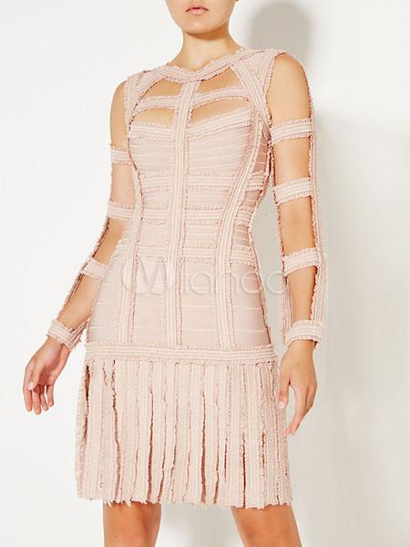 Langarm Sommerkleid Ausgeschnitten Rückenfreie Kleid Fransen IYW9EDH2