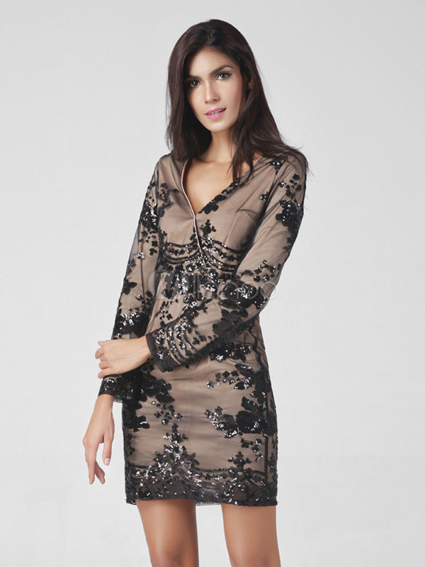 Black Short Dress Women's V Neck Long Sleeve Skin Fit Bodycon Dress