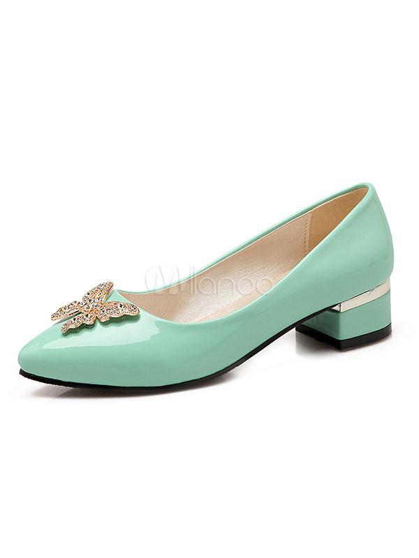 Zapatos de tacón medio de puntera puntiaguada de tacón gordo antideslizantes estilo modernopara pasar por la noche Charol PU 9GerPc5Pdm